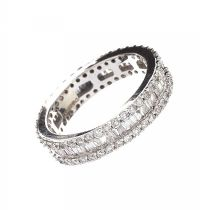 14CT WHITE GOLD DIAMOND ETERNITY RING at Ross's Jewellery Auctions