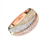 18CT GOLD, WHITE GOLD AND ROSE GOLD DIAMOND RING at Ross's Auctions