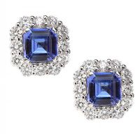 18CT WHITE GOLD TANZANITE AND DIAMOND EARRINGS at Ross's Auctions
