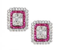 18CT WHITE GOLD RUBY AND DIAMOND EARRINGS at Ross's Auctions