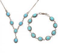 SILVER TURQUOISE NECKLACE AND BRACELET at Ross's Jewellery Auctions