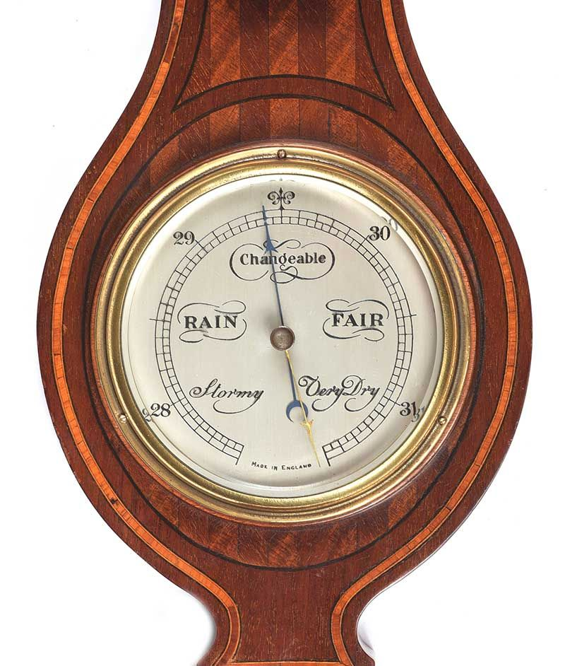 ART DECO INLAID MAHOGANY BAROMETER at Ross's Online Art Auctions