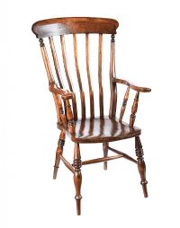 ELM RAIL BACK COUNTRY ARMCHAIR at Ross's Auctions