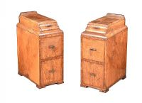 PAIR OF ART DECO WALNUT BEDSIDE PEDESTALS at Ross's Auctions