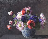 STILL LIFE, CHINESE VASE WITH FLOWERS by Hans Iten RUA at Ross's Auctions