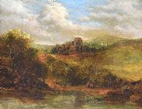DISTANT CASTLE ON THE HILL by John Crawford Wintour ARSA at Ross's Online Art Auctions