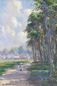 CHILDREN ON THE PATH BY THE TREES by James Humbert Craig RHA RUA at Ross's Auctions