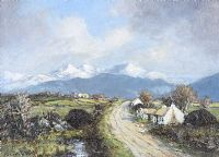 A MOUNTAIN ROAD IN KERRY by John Crampton Walker ARHA at Ross's Auctions