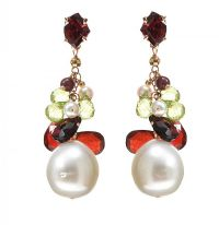 18CT ROSE GOLD DROP EARRINGS SET WITH GARNET, PERIDOT AND PEARL at Ross's Jewellery Auctions