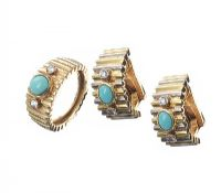 18CT GOLD TURQUOISE AND DIAMOND EARRINGS AND RING SET at Ross's Jewellery Auctions