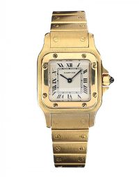 CARTIER SANTOS 18CT GOLD WRIST WATCH at Ross's Jewellery Auctions