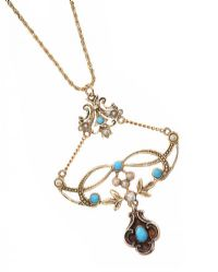 ANTIQUE 15CT GOLD PENDANT SET WITH TURQUOISE AND SEED PEARL ON A MODERN 9CT GOLD CHAIN at Ross's Jewellery Auctions