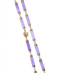 14CT GOLD NECKLACE SET WITH LAVENDER JADE at Ross's Jewellery Auctions