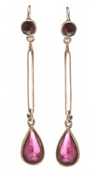 1930'S 9CT ROSE GOLD GARNET DROP EARRINGS at Ross's Jewellery Auctions