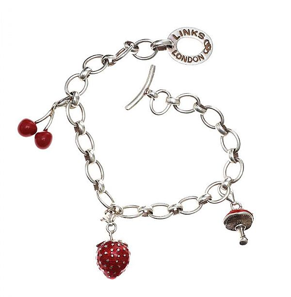 LINKS OF LONDON STERLING SILVER RED ENAMEL CHARM BRACELET at Ross's Online Art Auctions