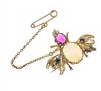 VINTAGE GOLD BUG BROOCH SET WITH OPAL, RUBY AND SAPPHIRE at Ross's Jewellery Auctions