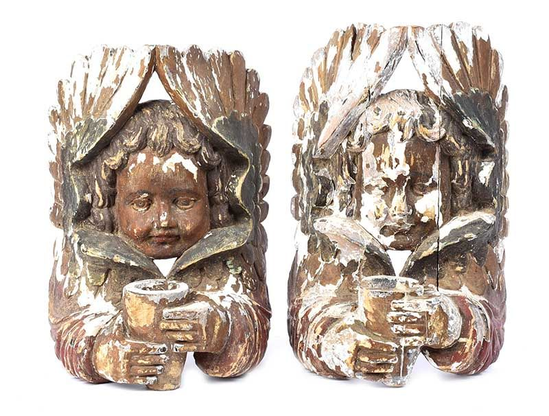 PAIR OF CARVED WOODEN CANDLE HOLDERS at Ross's Online Art Auctions