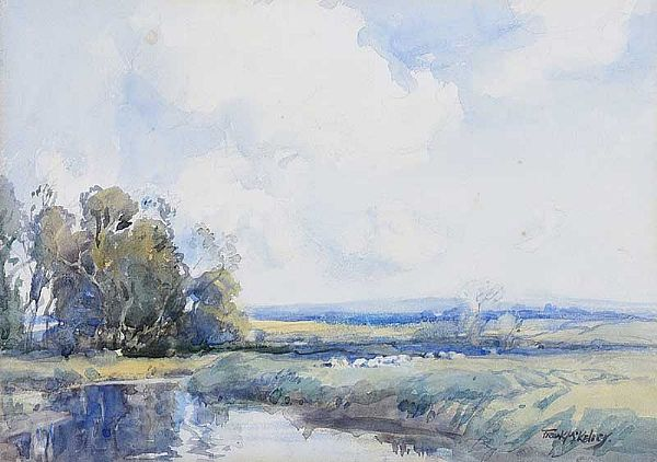 SHEEP GRAZING BY A RIVER by Frank McKelvey RHA RUA at Ross's Online Art Auctions
