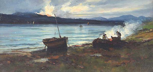 EVENING CAMP BY THE LOUGH by Colin Hunter ARA at Ross's Online Art Auctions