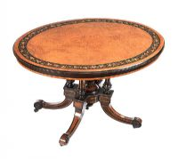 VICTORIAN WALNUT & EBONY OVAL CENTRE TABLE at Ross's Auctions