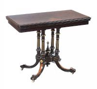 VICTORIAN WALNUT & EBONY TURN OVER LEAF CARD TABLE at Ross's Auctions
