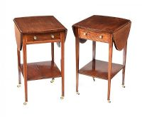 PAIR OF EDWARDIAN INLAID MAHOGANY DROP LEAF LAMP TABLES at Ross's Auctions