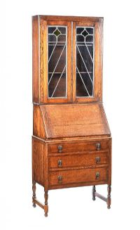 OAK BUREAU BOOKCASE at Ross's Auctions
