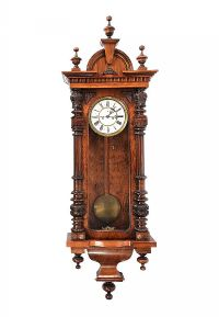 VICTORIAN WALNUT DOUBLE WEIGHT VIENNA WALL CLOCK at Ross's Auctions