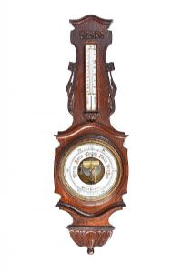 VICTORIAN CARVED OAK BAROMETER at Ross's Auctions