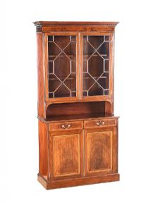 EDWARDIAN INLAID MAHOGANY TWO DOOR BOOKCASE at Ross's Auctions
