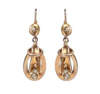VICTORIAN GOLD DROP EARRINGS SET WITH SEED PEARLS at Ross's Jewellery Auctions