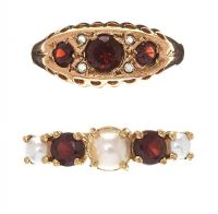 TWO 9CT GOLD RINGS SET WITH GARNET, PEARL AND DIAMOND at Ross's Jewellery Auctions