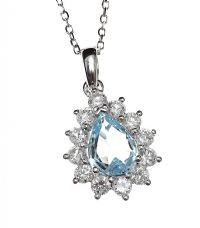 18CT WHITE GOLD AQUAMARINE AND DIAMOND NECKLACE at Ross's Jewellery Auctions