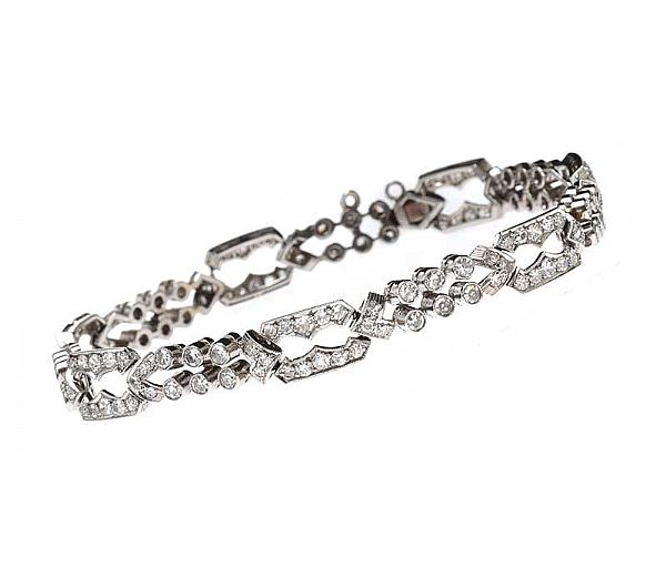 ART DECO PLATINUM DIAMOND BRACELET at Ross's Online Art Auctions
