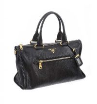 PRADA BLACK LEATHER HANDBAG at Ross's Auctions