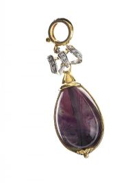 18CT GOLD REVERSABLE PENDANT SET WITH AMETHYST AND JADE WITH A DIAMOND-SET BOW at Ross's Jewellery Auctions