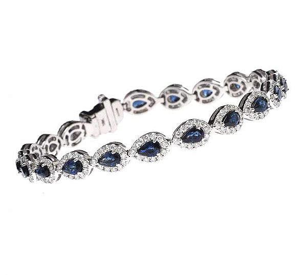 18CT WHITE GOLD SAPPHIRE AND DIAMOND BRACELET at Ross's Online Art Auctions