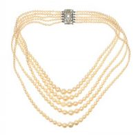 VINTAGE MULTI-STRAND FAUX PEARL NECKLACE WITH CRYSTAL-SET CLASP at Ross's Jewellery Auctions