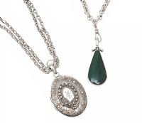 ANTIQUE STERLING SILVER LOCKET AND MODERN HARDSTONE-SET PENDANT, ON STERLING SILVER CHAINS at Ross's Jewellery Auctions