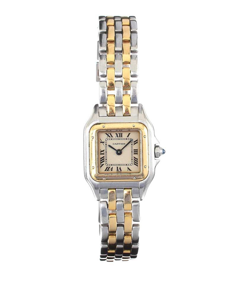 CARTIER 18CT GOLD AND STAINLESS STEEL LADY'S WRIST WATCH at Ross's Online Art Auctions