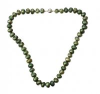 STRAND OF GREEN COLOURED FRESH WATER PEARLS at Ross's Jewellery Auctions