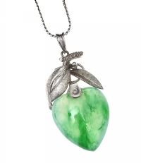 WHITE METAL AND JADE HEART-SHAPED PENDANT AND CHAIN at Ross's Jewellery Auctions