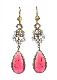 VICTORIAN MID-CARAT GOLD ENAMEL AND GARNET DROP EARRINGS at Ross's Jewellery Auctions