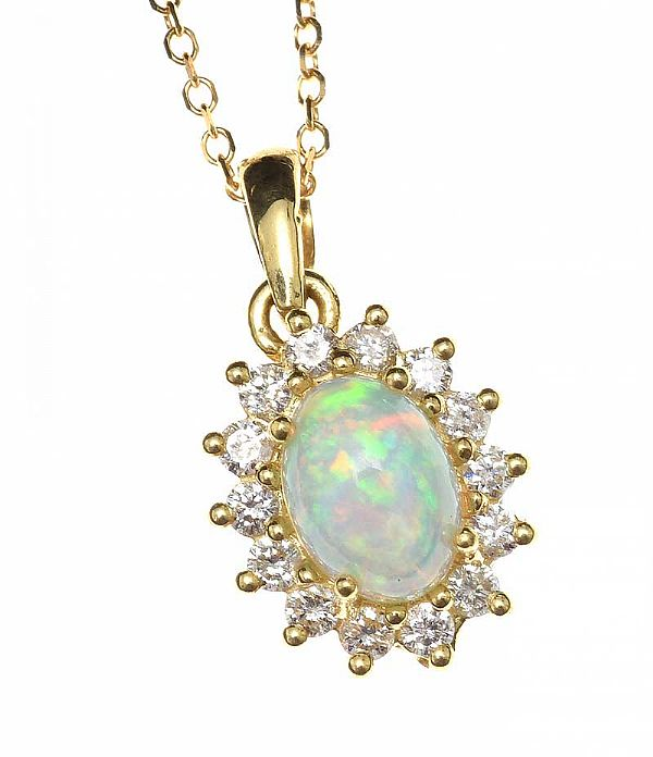 18CT GOLD OPAL AND DIAMOND NECKLACE at Ross's Online Art Auctions