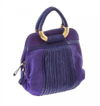 BLUE SUEDE AND LEATHER HANDBAG BY BRAND 'RISK' at Ross's Jewellery Auctions