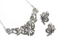 SILVER MARCASITE EARRING AND NECKLACE SET at Ross's Jewellery Auctions