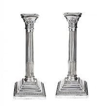 PAIR OF CORINTHIAN STERLING SILVER COLUMN TABLE CANDLESTICKS at Ross's Auctions