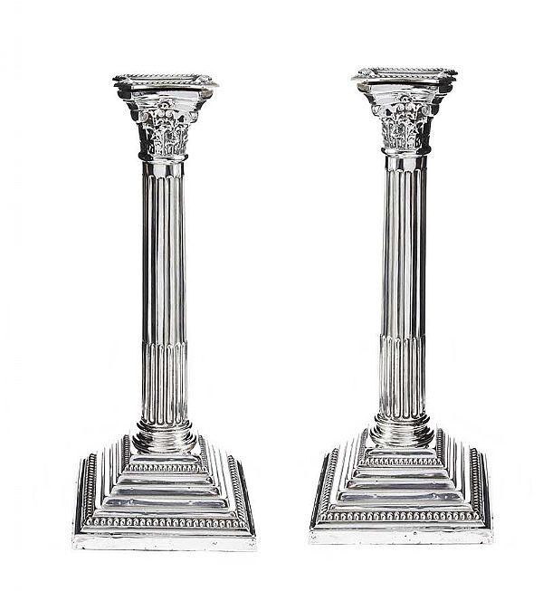 PAIR OF CORINTHIAN STERLING SILVER COLUMN TABLE CANDLESTICKS at Ross's Online Art Auctions