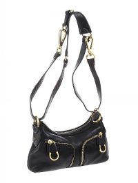 TED BAKER BLACK LEATHER BAGUETTE / CROSS BODY BAG at Ross's Jewellery Auctions