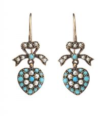 9CT GOLD DROP EARRINGS SET WITH TURQUOISE AND SEED PEARL at Ross's Jewellery Auctions